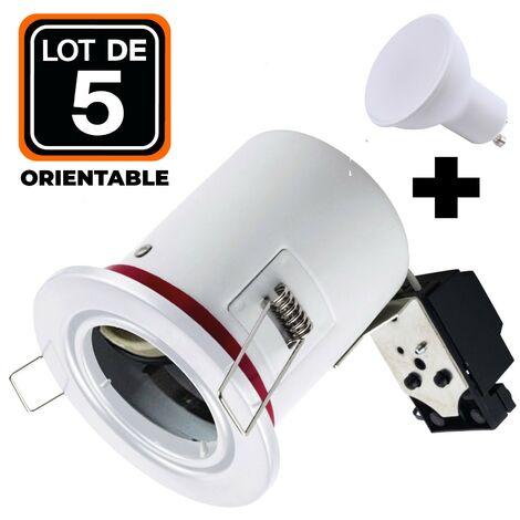 Lot 5 Spots BBC Orientable Blanc + Ampoule GU10 5W Blanc Froid + Douille