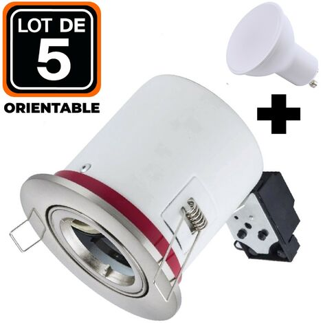 Lot 5 Supports Spots BBC Orientable INOX + Ampoule GU10 7W Blanc Froid + Douille