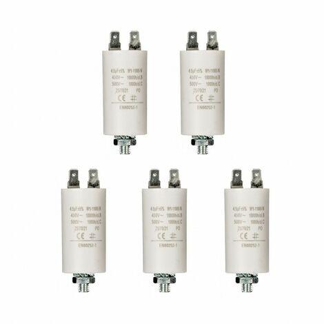 LOT 5 x Condensateur 4.5UF / 450 V + COSSES CONDO 4,5MF