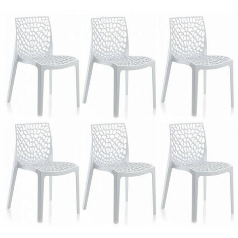 Lot 6 chaises ajourées empilables Blanches - GRUYER - Blanc