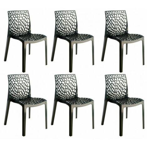 Lot 6 chaises ajourées empilables Noires - GRUYER - Noir