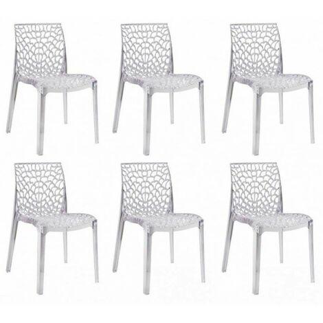 Lot 6 chaises ajourées empilables Transparentes - GRUYER - Transparent