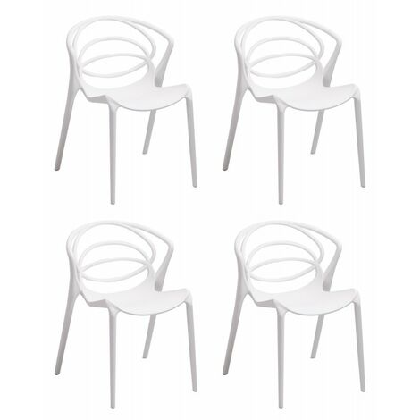 Lot 6 chaises de designers confort blanches - GINA - Blanc