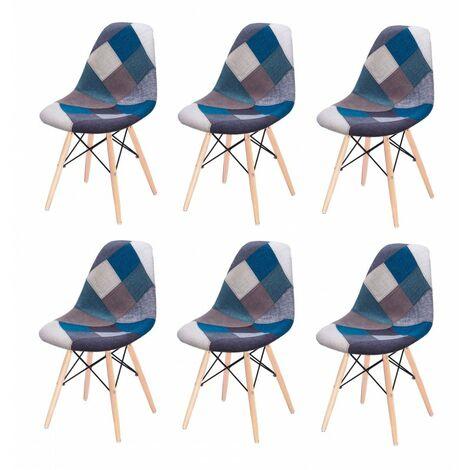Lot 6 chaises Patchwork Bleu tissu & bois de hêtre - RETRO - Bleu
