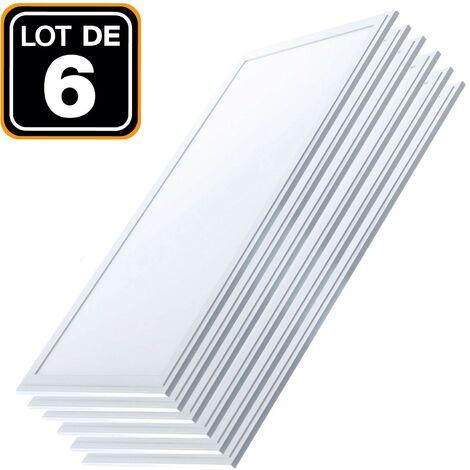 Lot 6 Dalles LED 40W 120x30 Blanc Neutre 4000k