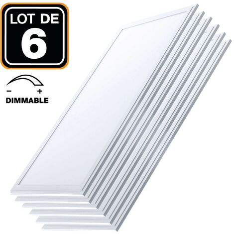 Lot 6 Dalles LED 40W 120x30 DIMMABLE Blanc Neutre 4000k