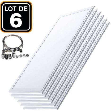 Lot 6 Dalles LED 40W 120x30 PMMA Blanc Froid 6000k + 6 Kits Câbles de Suspension