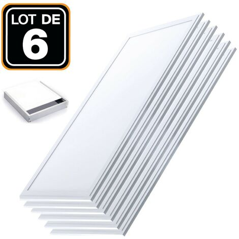 Lot 6 Dalles LED 40W 120x30 PMMA Blanc Froid 6000k + 6 Kits de pose en saillie
