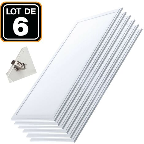 Lot 6 Dalles LED 40W PMMA 120x30 Blanc Froid 4000k + 6 Kits Clips d'encastrement