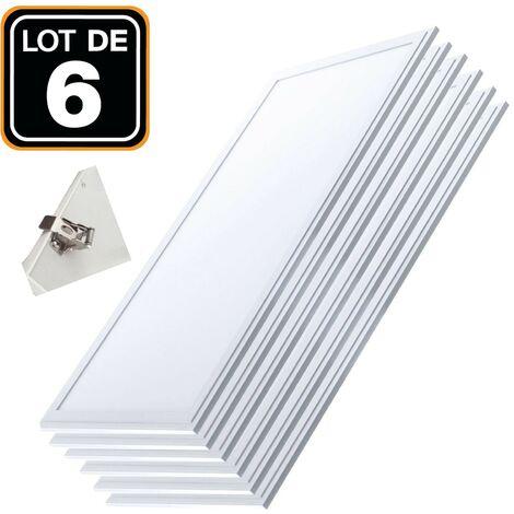 Lot 6 Dalles LED 40W PMMA 120x30 Blanc Froid 6000k + 6 Kits Clips d'encastrement