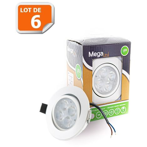 Lot 6 Spots encastrables LED amovibles Blanc 5W - Equivalent 50W - Mega Led CLIRW50W