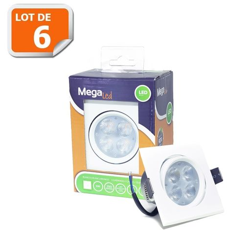 Lot 6 Spots encastrables LED amovibles Blanc 5W - Equivalent 50W - Mega Led LISW50W
