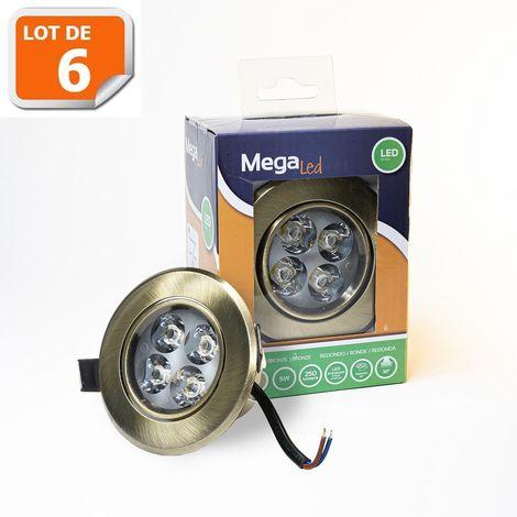 Lot 6 Spots encastrables LED amovibles Bronze 5W - Equivalent 50W - Mega Led CLI-RB50W