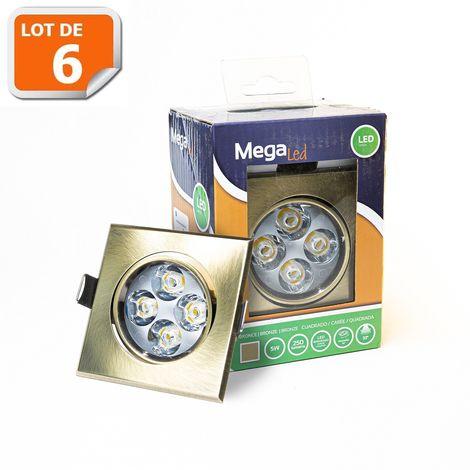 Lot 6 Spots encastrables LED amovibles Bronze 5W - Equivalent 50W - Mega Led CLISB50W