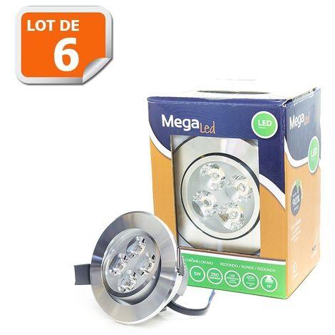 Lot 6 Spots encastrables LED amovibles Chrome 5W - Equivalent 50W - Mega Led CLI-RC50W