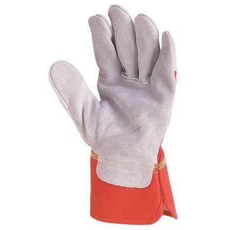 Lot 60 paires de Gants docker croûte vachette supérieure gris, toile rouge 155 - T. 10 - Coverguard