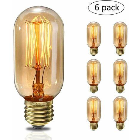 Lot 6Pcs Ampoules à Incandescence 40W Vintage Edison Lumiere Blanc Chaud E27 T45 220V