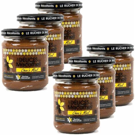 Lot 6x Pâte à tartiner Choco Miel (miel et chocolat) - Monts du Lyonnais - Rhône Alpes - Le Rucher de Macameli - pot 225g