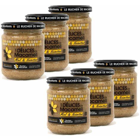 Lot 6x Pâte à tartiner Délice (miel et noisettes) - Monts du Lyonnais - Rhône Alpes - Le Rucher de Macameli - pot 225g