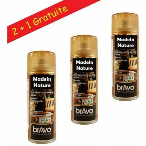 Lot bombes spray Lasure, aspect mat, Aérosol NESPOLI 400ml – 2 m² de MadeInNature® - Lasure chêne foncé - Lot de 6. - Lasure chêne foncé