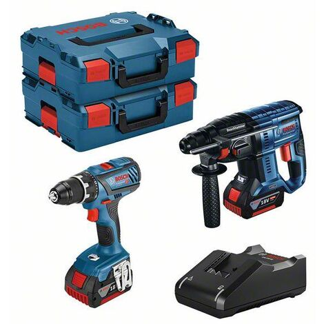 Lot BOSCH Perceuse GSR 18V-28 + Perforateur GBH 18V-21 + 2 batteries 18V 4.0Ah +chargeur + coffret - 0615990M0R