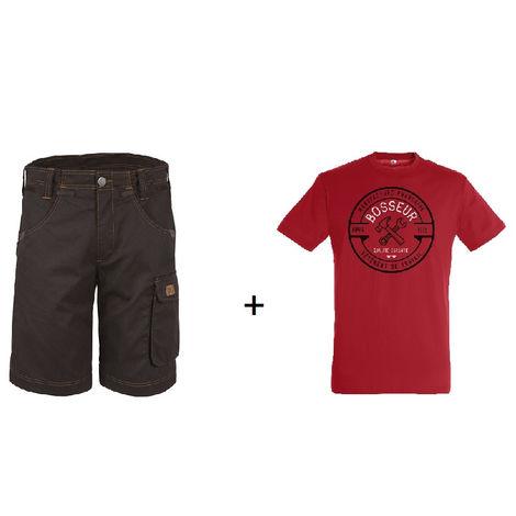 Lot BOSSEUR Bermuda ébène 38 + 1 Tee-shirt Rouge M - 10828-001