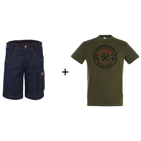 Lot BOSSEUR Bermuda marine 42 + 1 Tee-shirt Kaki L - 10828-021