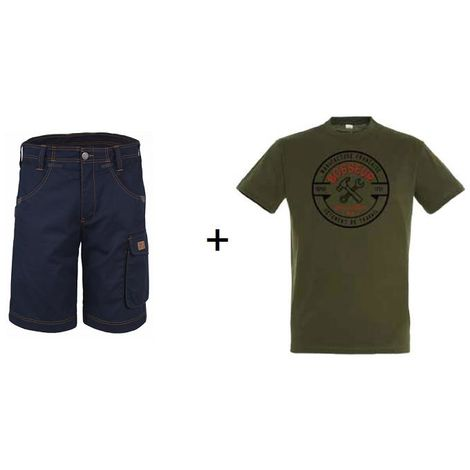 Lot BOSSEUR Bermuda marine 48 + 1 Tee-shirt Kaki XXL - 10828-024