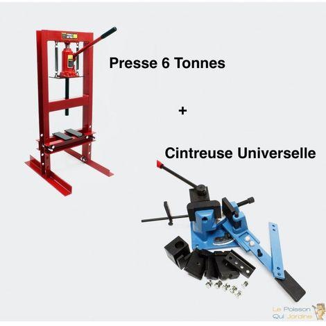 Lot : Cintreuse Plieuse Universelle Et Presse Hydraulique 6T Pour Métaux - Rouge