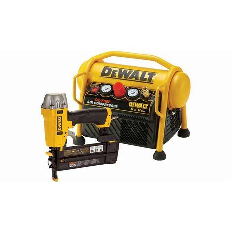 Lot cloueur pneumatique de précision DPN1850 + compresseur 6L DEWALT DPC6MRC-QS/1850