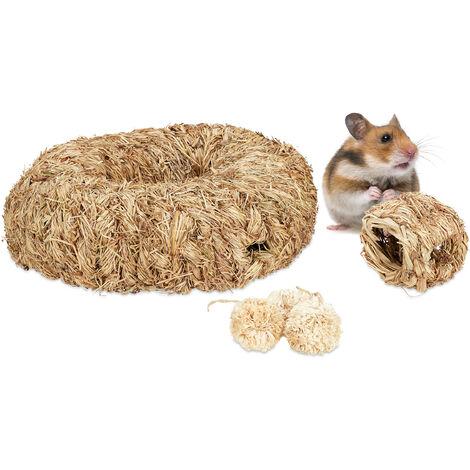 lot d'accessoires pour hamster, 5 pièces, nid d'herbe, tube, tunnel & balles, objet de cage, rongeur, nature