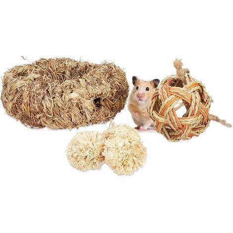 lot d'accessoires pour hamster, 5 pièces, tube herbe&4 balles, objet de cage, rongeur, souris, paille, nature