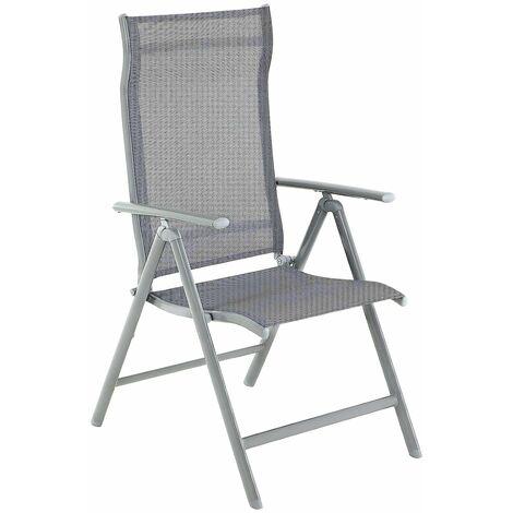 Lot de 1/2/4 Chaises de Jardin Pliables, Sièges d'extérieur, Cadre en Aluminium Robuste, Dossier réglable sur 8 Positions, Charge 150 kg, Gris/Noir