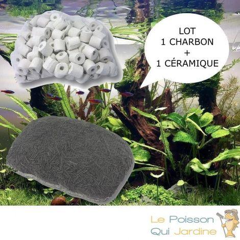 Lot de 1 charbon actif et 1 anneau en céramique pour filtration aquarium et bassin de jardin
