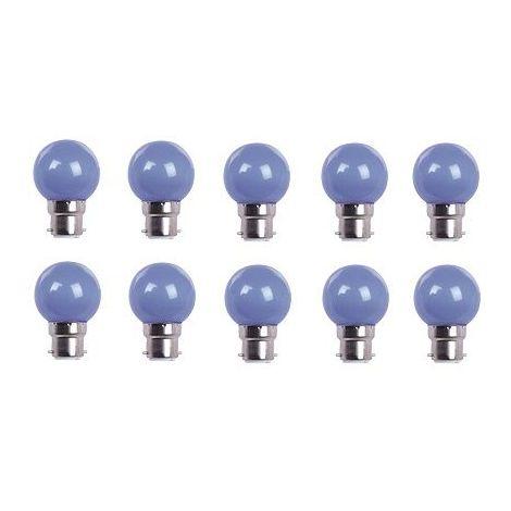 LOT DE 10 AMPOULES - COULEUR LED BLEUE B22