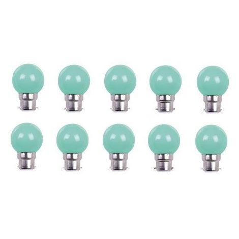 LOT DE 10 AMPOULES - COULEUR LED VERTE B22