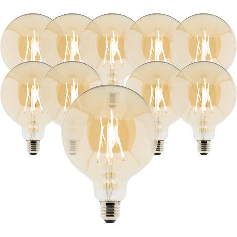 Lot de 10 ampoules Déco filament LED ambrée Globe 7W E27 720lm 2500K