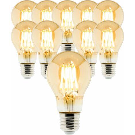 Lot de 10 ampoules Déco filament LED ambrée Standard 4W E27 400lm 2500K