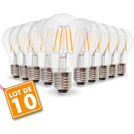 Lot de 10 Ampoules E27 4W Filament eq. 40W blanc chaud 2700K