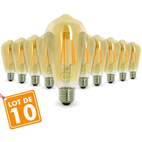 Lot de 10 AMPOULES E27 7W ST64 2200K Type Edison | Température de Couleur: Blanc chaud 2200K