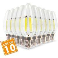 Lot de 10 Ampoules Flamme Filament 4w eq. 40W Culot E14 blanc chaud 2700K