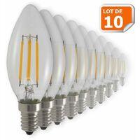 Lot de 10 Ampoules Flamme Filament 4w eq. 42W Culot E14 blanc chaud 2700-3200K
