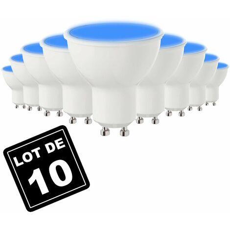 Lot de 10 Ampoules GU10 7W BLEU