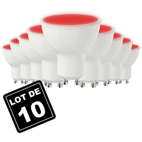 Lot de 10 Ampoules GU10 7W ROUGE