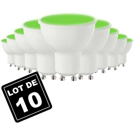 Lot de 10 Ampoules GU10 7W VERTE