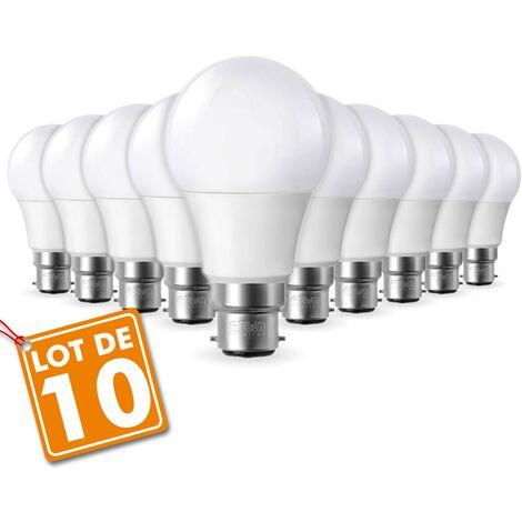 Lot de 10 Ampoules LED B22 11W Eq 90W | Température de Couleur: Blanc chaud 2700K