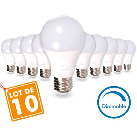 LOT de 10 AMPOULES LED E27 13W DIMMABLE Eq 75W | Température de Couleur: Blanc chaud 2700K