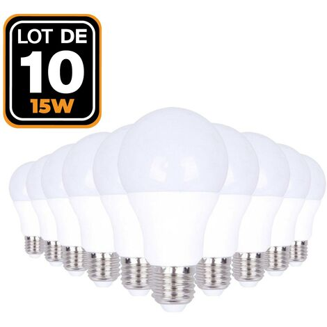 Lot de 10 Ampoules LED E27 15W 6000k Haute Luminosité