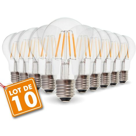 Lot de 10 Ampoules LED E27 4W Filament eq. 40W blanc chaud 2700K
