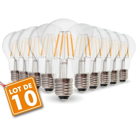Lot de 10 Ampoules LED E27 6W Filament eq. 54W blanc chaud 2700K